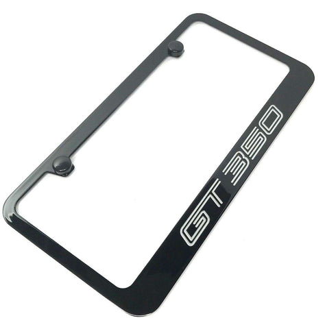 Ford Shelby Mustang GT350 License Plate Frame - Black with Silver Script - 2