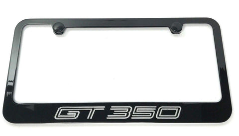 Ford Shelby Mustang GT350 License Plate Frame - Black with Silver Script - 3