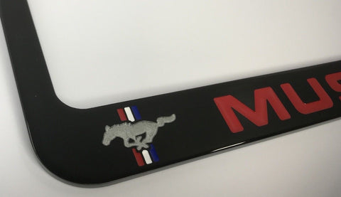 Ford Mustang License Plate Frame - Black with Red Script (Front)