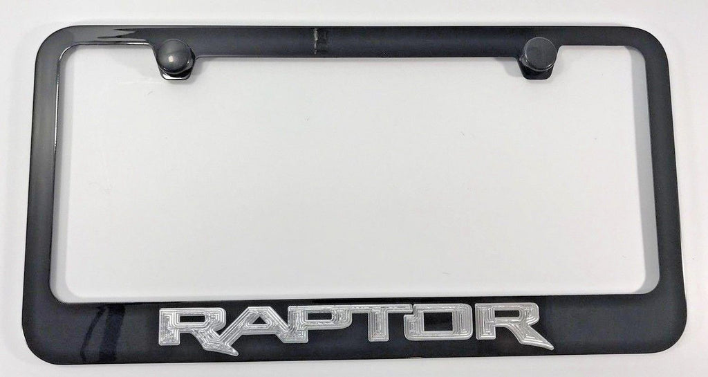 Ford Raptor License Plate Frame - Black with Silver Script (Main)