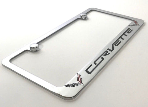 Image of Chevrolet Corvette C7 License Plate Frame - Chrome (Main)