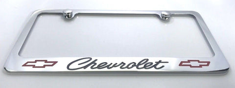 Image of Chevrolet License Plate Frame - Chrome with Black Script (Main)