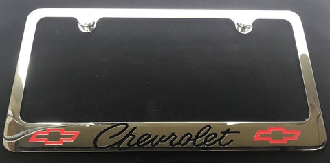 Chevrolet License Plate Frame - Chrome with Black Script (Front)