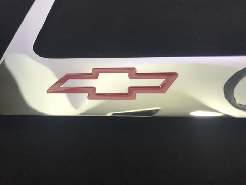 Image of Chevrolet License Plate Frame - Chrome with Black Script (Bottom)