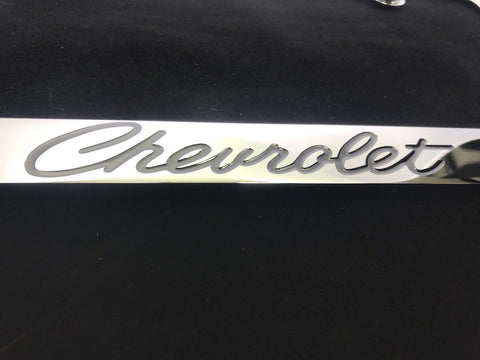 Chevrolet License Plate Frame - Chrome with Black Script (Logo)