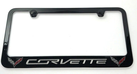 Image of Chevrolet Corvette C7 License Plate Frame - Black (Main)