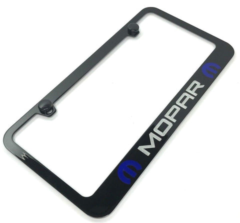 Mopar License Plate Frame - Black with Blue Logo (Main)