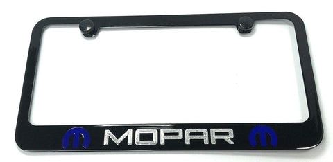 Mopar License Plate Frame - Black with Blue Logo (Above)