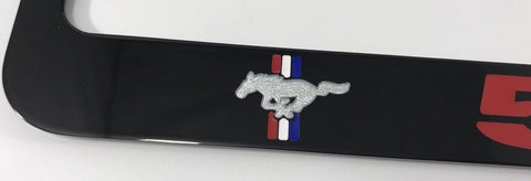 Image of Ford Mustang 5.0 License Plate Frame - Black with Red Script (Side)