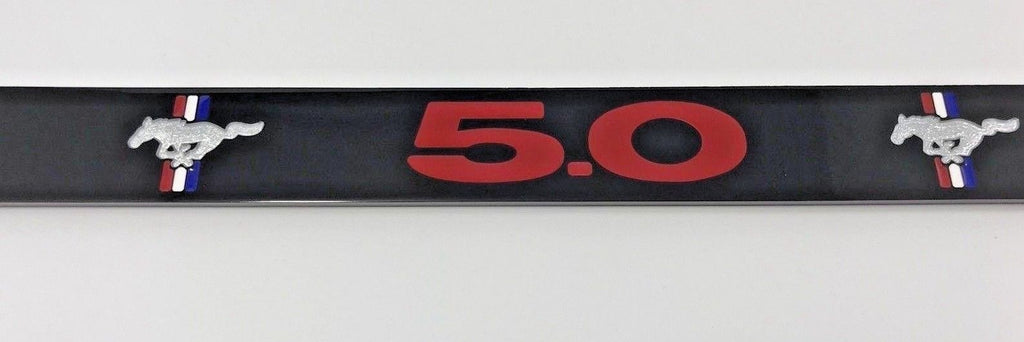 Ford Mustang 5.0 License Plate Frame - Black with Red Script (Front)