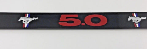 Image of Ford Mustang 5.0 License Plate Frame - Black with Red Script (Front)