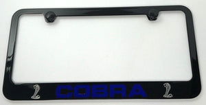 Shelby Cobra License Plate Frame - Black with Blue Script (Main)