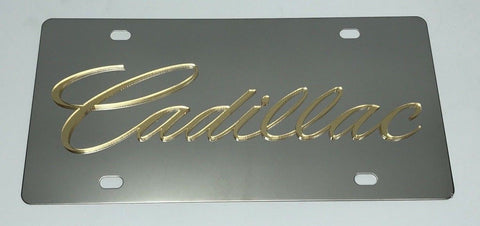 Cadillac License Plate - Chrome with Gold Script (Main)