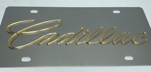 Cadillac License Plate - Chrome with Gold Script (Top)
