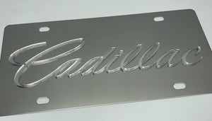 Cadillac License Plate - Chrome with Clear Script (Main)