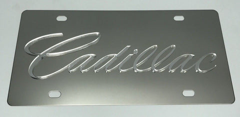 Cadillac License Plate - Chrome with Clear Script (Top)