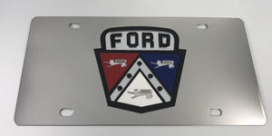 Ford 1950's Hood Emblem License Plate - Chrome