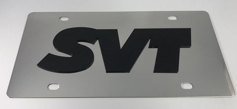 Ford SVT License Plate - Chrome with Black Script (Main)