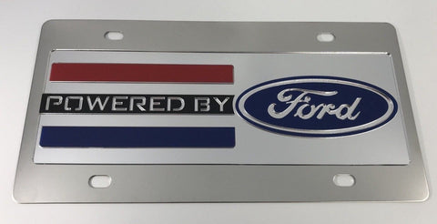 Powered By Ford License Plate - Chrome with Black Script (Main)
