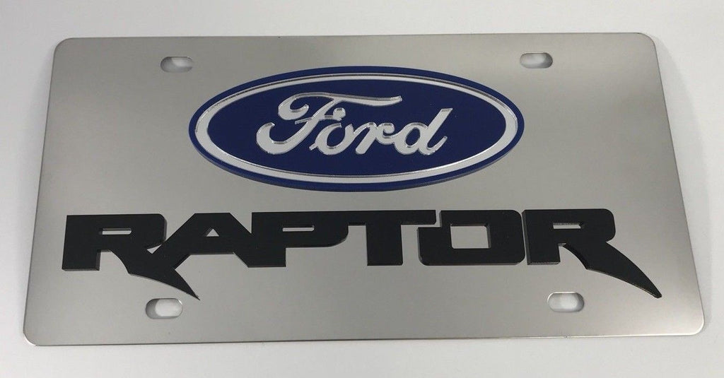 Ford Raptor License Plate - Chrome with Black Script