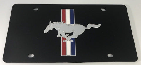 Ford Mustang License Plate - Black Acrylic with Logo (Main)