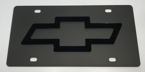 Chevrolet License Plate - Black with Black Emblem (Main)