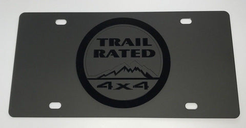 Jeep Trail Rated License Plate - Black with Black Emblem (Main)