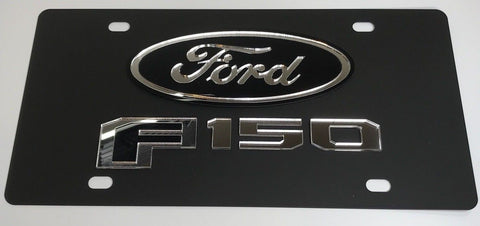 Image of Ford F-150 License Plate - Black with Chrome Script (Main)