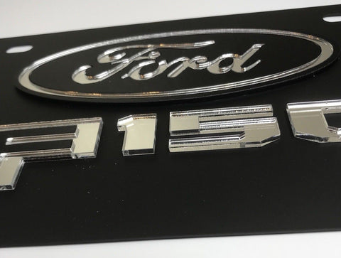 Ford F-150 License Plate - Black with Chrome Script (Front)