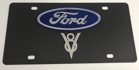 Image of Ford V8 License Plate - Black with Chrome Script (Main)