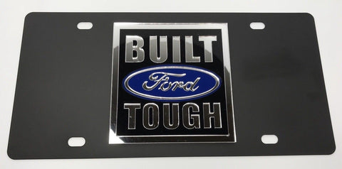 Built Ford Tough License Plate - Black with Chrome Script (Main)