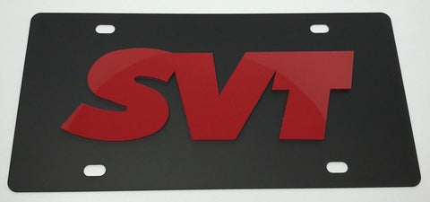 Ford SVT License Plate - Black with Red Script (Main)