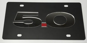 Ford Mustang 5.0 License Plate - Black with Chrome Script (Main)