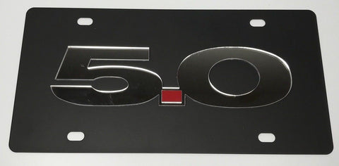 Image of Ford Mustang 5.0 License Plate - Black with Chrome Script (Main)