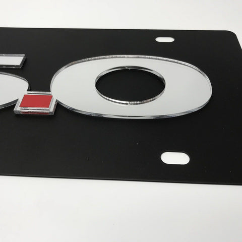 Image of Ford Mustang 5.0 License Plate - Black with Chrome Script (Side)
