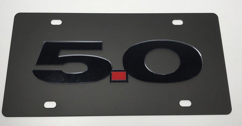Ford Mustang 5.0 License Plate - Black with Black Script (Main)