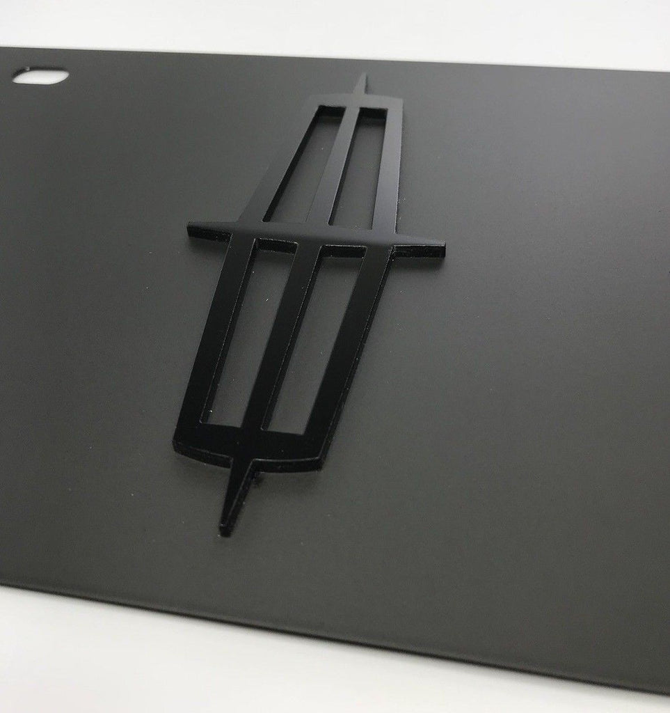 Lincoln License Plate - Black with Black Logo (Side)