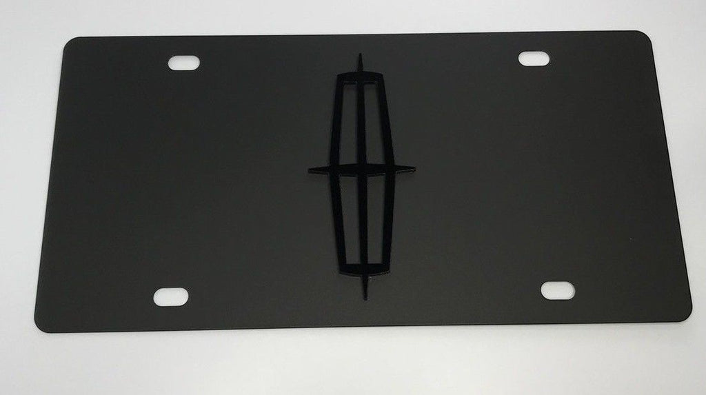 Lincoln License Plate - Black with Black Logo (Main)