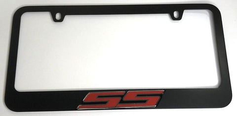 Chevrolet SS License Plate Frame - Black with Red Script (Front)