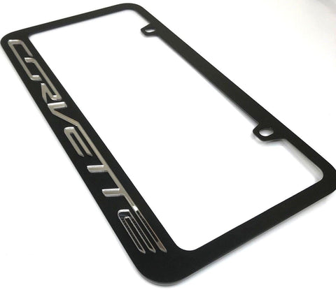 Image of Chevrolet Corvette License Plate Frame - Black with Script (Main)