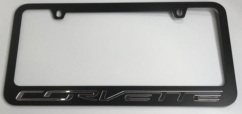 Image of Chevrolet Corvette License Plate Frame - Black with Script (Top)
