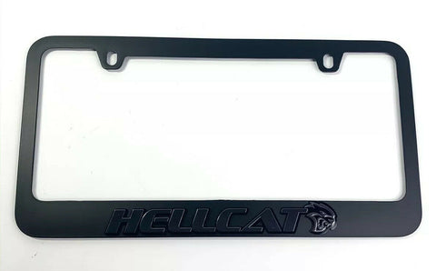 Dodge Charger & Challenger Hellcat Black License Plate Frame - Black Script-Live Fast Supply Company