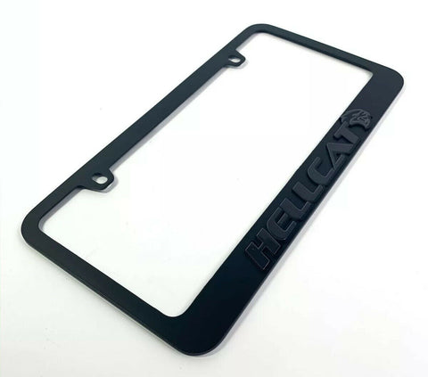 Dodge Charger & Challenger Hellcat Black License Plate Frame - Black Script