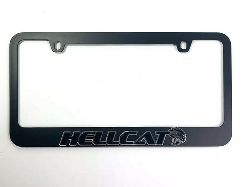 Dodge Challenger & Charger Hellcat Black License Plate Frame - Mirror Script