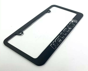 Dodge Challenger & Charger Hellcat Black License Plate Frame - Mirror Script-Live Fast Supply Company