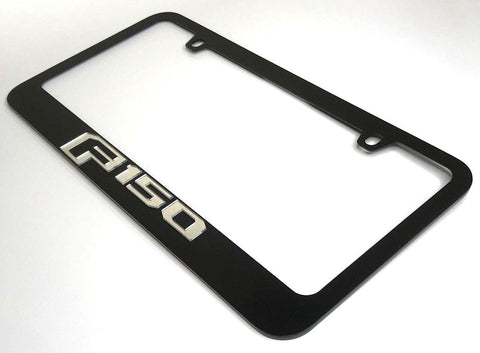 Ford F-150 License Plate Frame - Black with Chrome Script (Side)