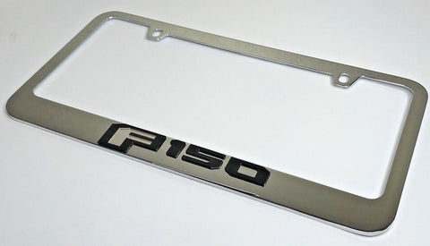 Image of Ford F-150 License Plate Frame - Chrome with Black Script (Main)