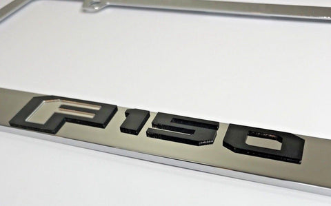 Image of Ford F-150 License Plate Frame - Chrome with Black Script (Top)