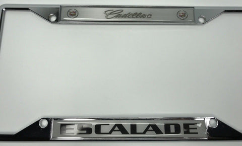 Image of Cadillac Escalade License Plate Frame - Chrome with Logo (Front)