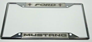 Ford Mustang License Plate Frame - Chrome with Black Script (Main)